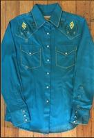 Rockmount Ranch Wear Ladies' Vintage Western Shirt: Fancy Blanket Stitching Turquoise S-XL