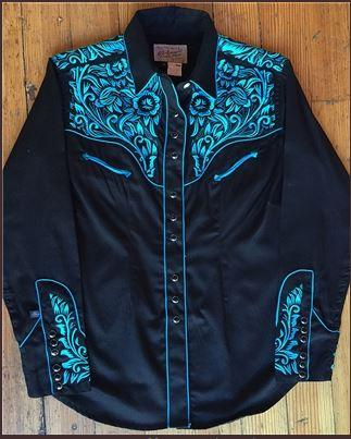 Rockmount Ranch Wear Ladies' Vintage Western Shirt: Fancy Tooling Turquoise Backordered