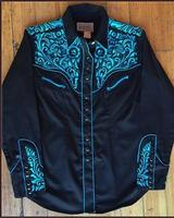 Rockmount Ranch Wear Ladies' Vintage Western Shirt: Fancy Tooling Turquoise S-XL