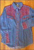 Rockmount Ranch Wear Ladies' Vintage Western Shirt: Fancy Tooling Red on Denim Backordered