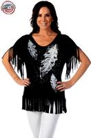 ZSold Liberty Wear Top: Feather Drops & Fringe SOLD