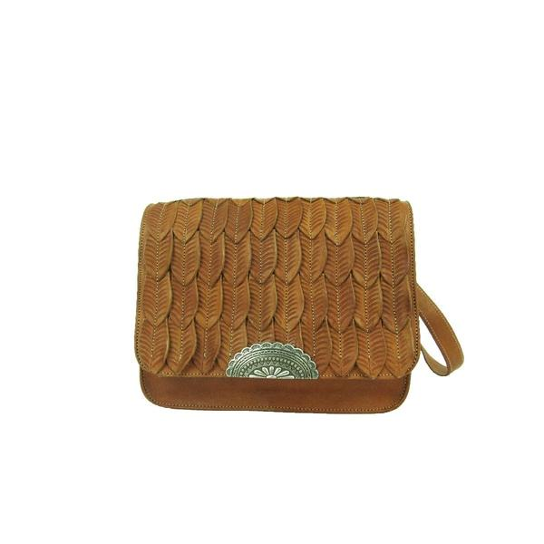 A American West Handbag Freedom Feather Collection: Leather Crossbody Flap Golden Tan