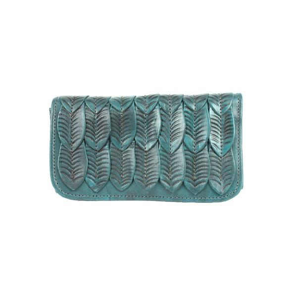 A American West Handbag Freedom Feather Collection: Leather Wallet Turquoise