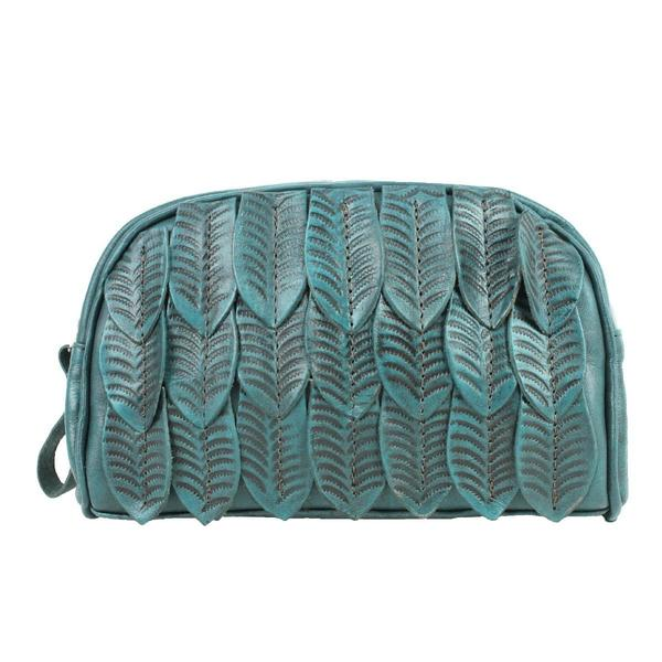 A American West Handbag Freedom Feather Collection: Leather Cosmetic Bag Turquoise
