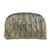 A American West Handbag Freedom Feather Collection: Leather Cosmetic Bag Charcoal Brown