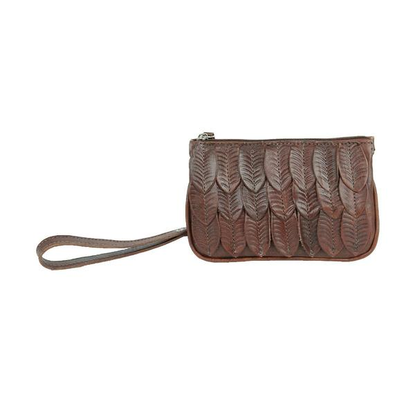 a American West Handbag Freedom Feather Collection: Leather Event Bag Brown