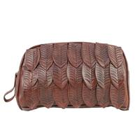A American West Handbag Freedom Feather Collection: Leather Cosmetic Bag Brown