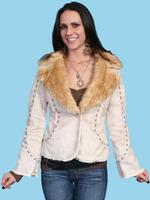 Z SALE Scully Ladies' Honey Creek Faux Fur Jacket: Suede One Button Ivory M SALE