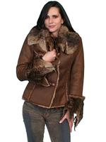 Scully Ladies' Honey Creek Faux Fur Jacket: Faux Fur and Suede Java S-2XL