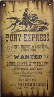 Cowboy Brand Furniture: Wall Sign-Vintage-Pony Express