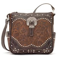 ZSold American West Handbag Annie's Secret Collection: Concealed Carry Leather Crossbody Tooled Chestnut Brown SOLD