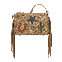 A American West Handbag Sun Valley: Leather Crossbody Western Icons Distressed Cream