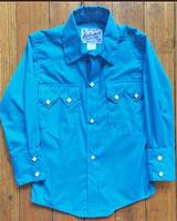 Rockmount Ranch Wear Children's Western Shirt: Solid Turquoise Backordered
