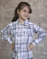 Rockmount Ranch Wear Children's Western Shirt: Eyelet Plaid Blue Backordered