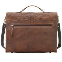 American West Handbag ZZ Travel Collection: Stagecoach Laptop Briefcase Chestnut Brown