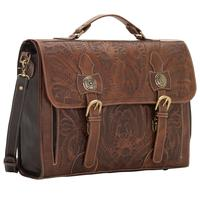 ZSold American West Handbag ZZ Travel Collection: Retro Laptop Briefcase Chocolate