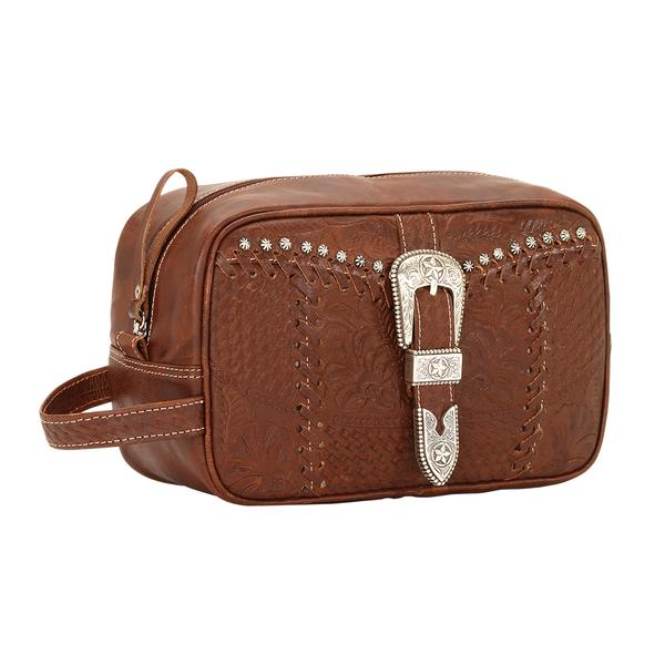 American West Handbag ZZ Travel Collection: Retro Romance Dop Shaving Kit Antique Brown
