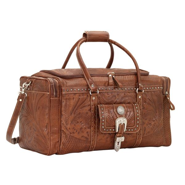 American West Handbag ZZ Travel Collection: Retro Romance Luggage Rodeo Bag Antique Brown