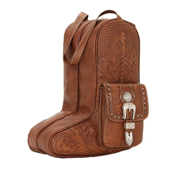American West Handbag ZZ Travel Collection: Retro Romance Luggage Boot Bag Antique Brown