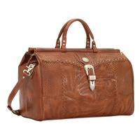 American West Handbag ZZ Travel Collection: Retro Luggage Duffel Bag LIght Brown