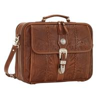 American West Handbag ZZ Travel Collection: Retro Laptop Briefcase Light Brown