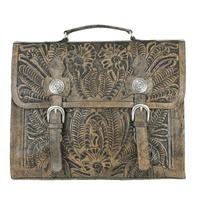 American West Handbag ZZ Travel Collection: Retro Laptop Briefcase Distressed Charcoal