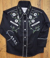 ZSold Rockmount Ranch Wear Children's Vintage Western Shirt: Embroidered Flowers on Black XS-XL SOLD
