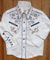 Rockmount Ranch Wear Children's Vintage Western Shirt: Embroidered Flowers on Natural L-XL