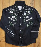 Rockmount Ranch Wear Men's Vintage Western Shirt: Fancy Classic Floral Embroidery on Black S-XL