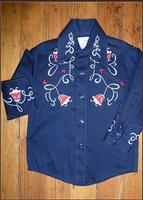 Rockmount Ranch Wear Children's Vintage Western Shirt: Art Deco Tulip Navy XS-XL