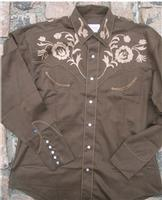 ZSold Rockmount Ranch Wear Children's Vintage Western Shirt: Brown With Floral Embroidery Brown XS-XL SOLD