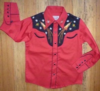 ZSold Rockmount Ranch Wear Children's Vintage Western Shirt: Atomic Cowboy Rockets Red SOLD