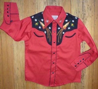 ZSOLD Rockmount Ranch Wear Men's Vintage Western Shirt: Atomic Cowboy Rockets Red S-XL SOLD