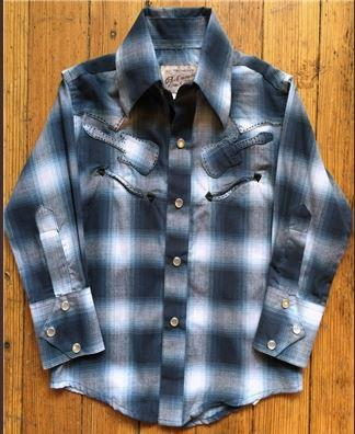 A Rockmount Ranch Wear Children's Western Shirt: Plaid Guitar Blue XS-XL