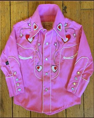 Rockmount Ranch Wear Children's Vintage Western Shirt: Embroidered Hearts Pink  Backordered