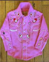 Rockmount Ranch Wear Children's Vintage Western Shirt: Embroidered Hearts Pink