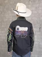 Rockmount Ranch Wear Children's Vintage Western Shirt: Fancy Palm Trees and Wagon Wheels Black Backordered