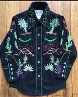 Rockmount Ranch Wear Children's Vintage Western Shirt: Fancy Palm Trees and Wagon Wheels Black XS-XL