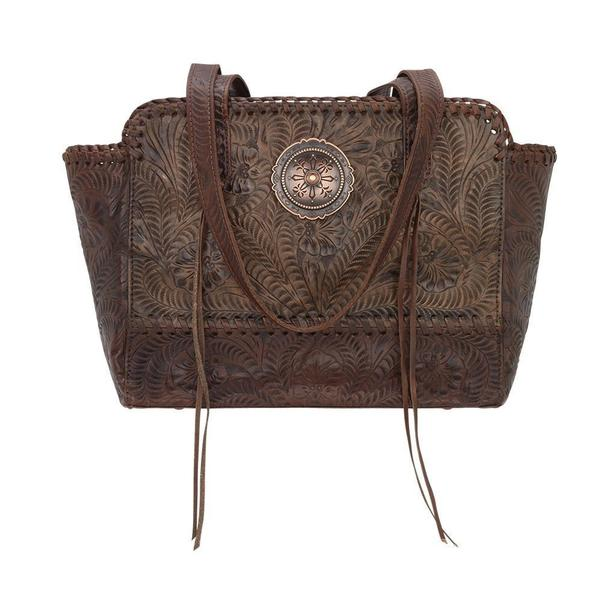American West Handbag Annie's Secret Collection: Concealed Carry Zip Top Tote Charcoal Brown