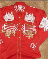 Rockmount Ranch Wear Children's Vintage Western Shirt: Horsehead and Saddle Red