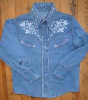 ZSold Rockmount Ranch Wear Ladies' Vintage Western Shirt: Denim Companion w Floral Embroidery Pink S-XL SOLD