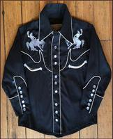 Rockmount Ranch Wear Children's Vintage Western Shirt: Bucking Broncs Black Backordered
