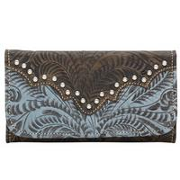 American West Handbag Annie's Secret Collection: Leather Tri-Fold Wallet Distressed Denim Blue