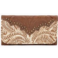 American West Handbag Annie's Secret Collection: Leather Tri-Fold Wallet Distressed Cream