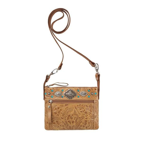 A American West Handbag Trail Rider Collection: Leather Crossbody Tan