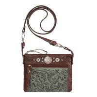 A American West Handbag Trail Rider Collection: Leather Crossbody Turquoise