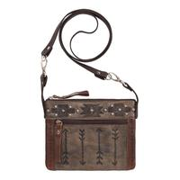 A American West Handbag Trail Rider Collection: Leather Crossbody Arrows