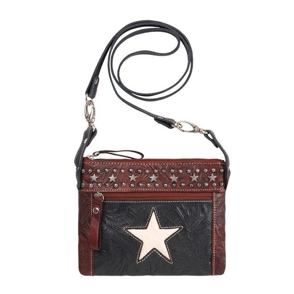 A American West Handbag Trail Rider Collection Leather Crossbody With Star