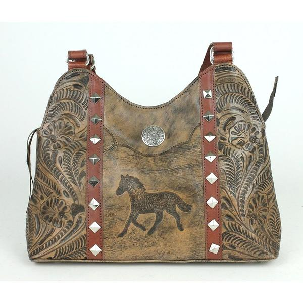 393afe85d08 A American West Handbag Hitchin' Post Collection: Leather Multi-Compartment  Shoulder Running Horse Charcoal Brown