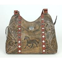 A American West Handbag Hitchin' Post Collection: Leather Multi-Compartment Shoulder Running Horse Charcoal Brown